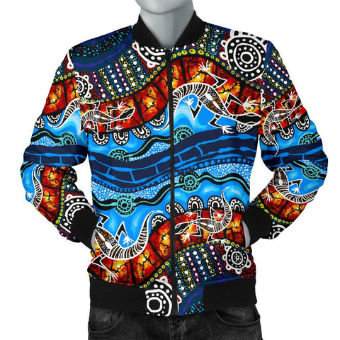Australia Men Bomber Jacket, Aboriginal Lizard Dot Painting Blue Wave