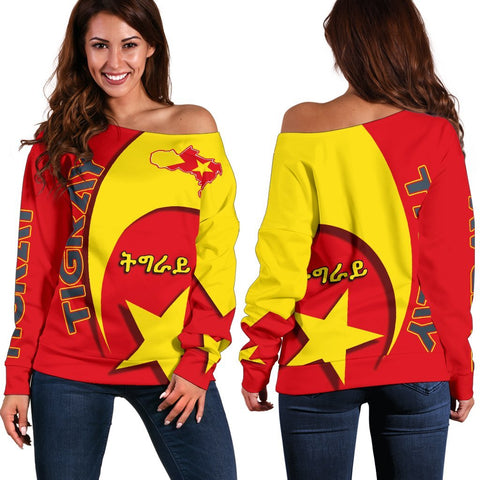 1stTheWorld Tigray Women's Off Shoulder Sweater New Release A25