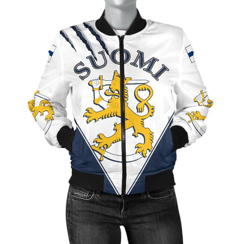 Finland Hockey Bomber Jacket - Hockey Lion (Women) | Love The World