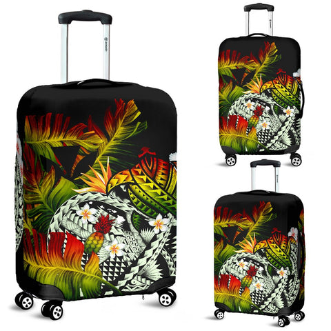 Image of Kanaka Maoli (Hawaiian) Luggage Covers, Polynesian Pineapple Banana Leaves Turtle Tattoo Reggae