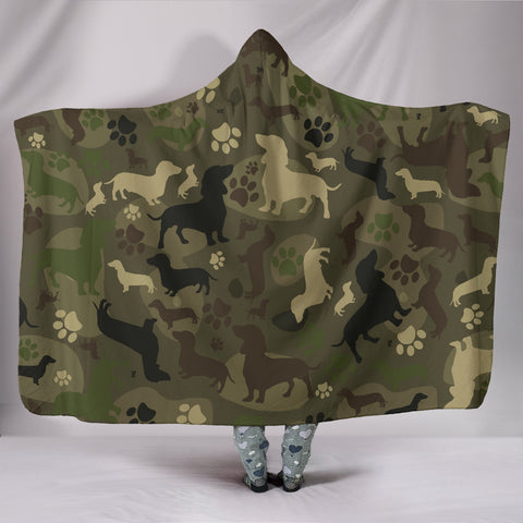 Image of Dachshund Camo Hooded Blanket - dachsund dog, dog hooded blanket, women hooded blanket, clothing, online shopping, 1sttheworld, camo