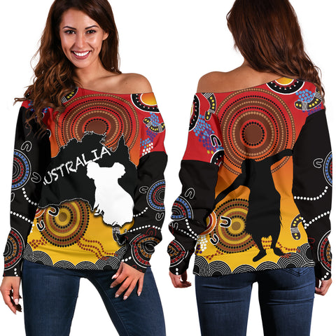 Australia Aboriginal Women's Off Shoulder Sweater With Map