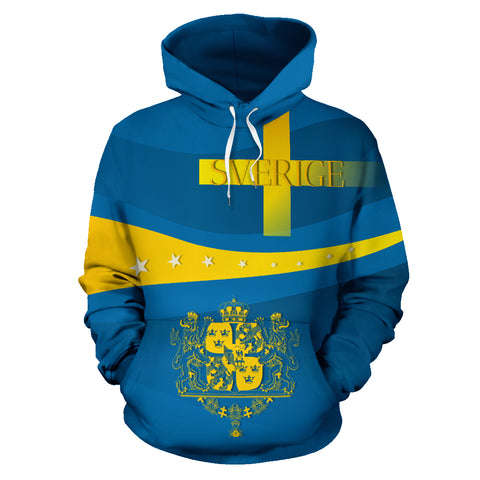 Sverige Wavy Line x Coat of Arms Sweden Hoodie with Blue mix Yellow color - Front - For Men and Women