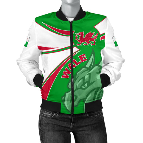 1stTheWorld Wales Bomber Jacket, Wales Round Dragon Red Women A10