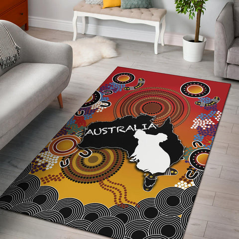 Australia Aboriginal Area Rug With Map