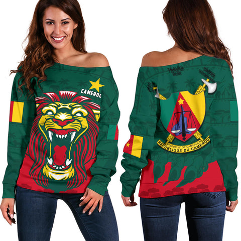 Image of Cameroon Off Shoulder Sweater Lion