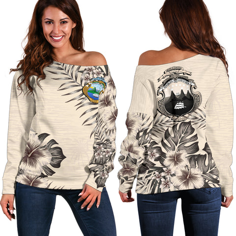 Costa Rica The Beige Hibiscus Off Shoulder Sweater A7