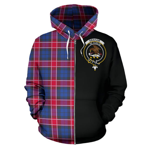 Graham of Menteith Red Tartan Hoodie Half Of Me | 1sttheworld.com