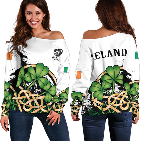 Image of Ireland Special Women's Off Shoulder Sweater Version 2 | Special Custom Design