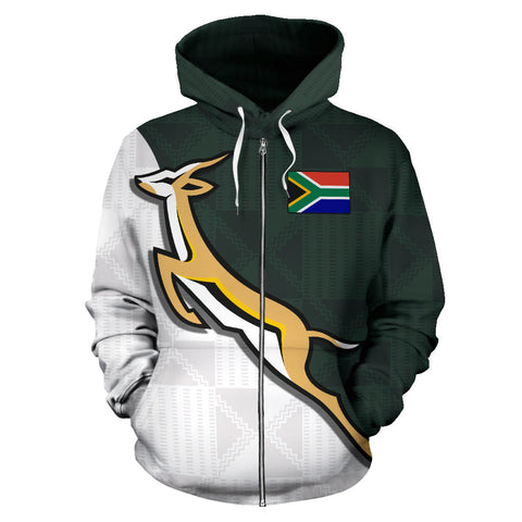 South Africa Springboks Forever Personalized Zip Up Hoodie