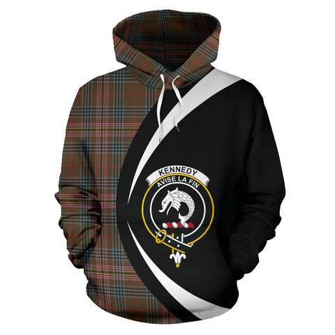 (Custom your text) Kennedy Weathered Tartan Circle Hoodie