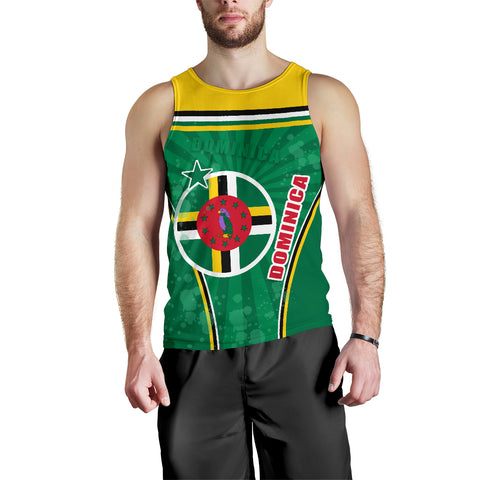 Dominica Men Tank Top Circle Stripes Flag Version Front | 1tstheworld.com