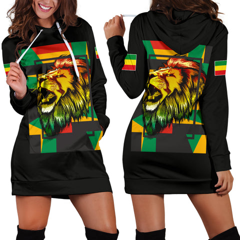 1stTheWorld Ethiopia Hoodie Dress, Ethiopia Lion Abstrato Black Women A10