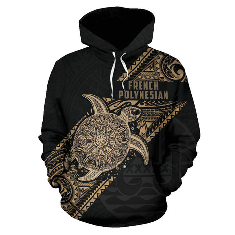 French Polynesia Hoodie Turtle - Diagonal Line Style TH5