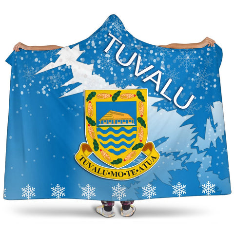 Tuvalu Coat Of Arms Hooded Blanket - Blue - X Style - J82