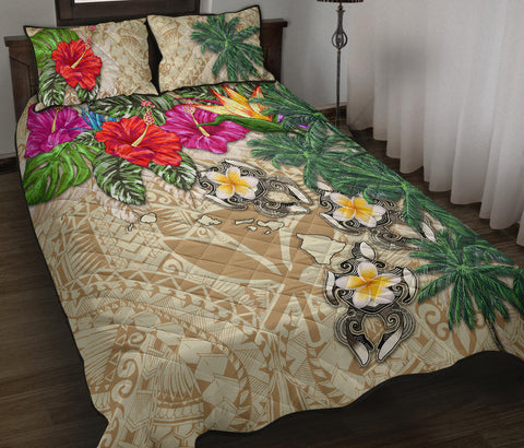 Image of Kanaka Maoli (Hawaiian) Quilt Bed Set - Hibiscus Turtle Tattoo Beige A02