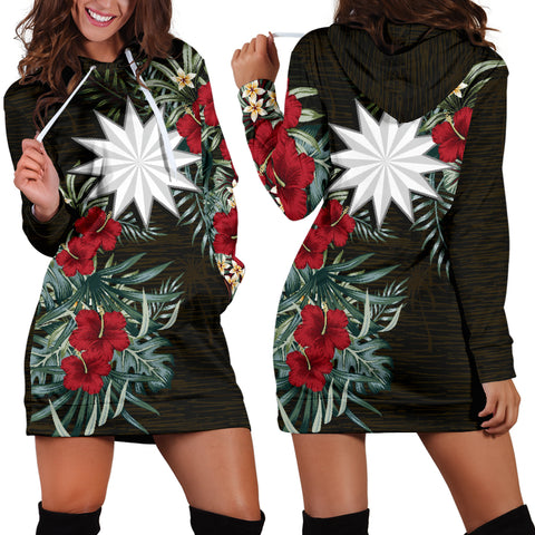 Image of Nauru 2 Hibiscus Hoodie Dress A7
