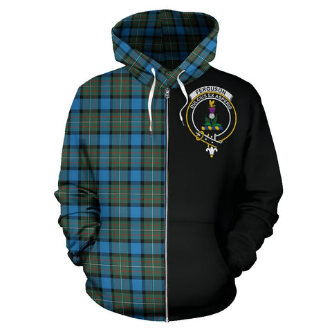 Fergusson Ancient Tartan Hoodie Half Of Me | 1sttheworld.com
