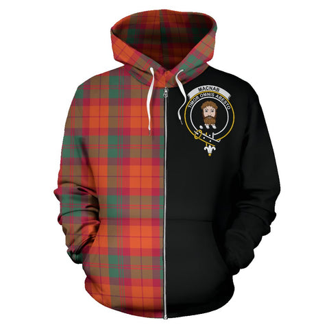 MacNab Ancient Tartan Hoodie Half Of Me | 1sttheworld.com