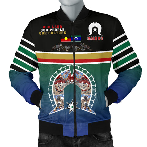 Australia Men's Bomber Jacket - Aboriginal And TSI Flags Naidoc