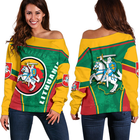 Lithuania - Lietuva Off Shoulder Sweater Circle Stripes Flag Proud Version Front | 1sttheworld