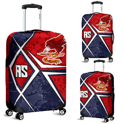 American Samoa Luggage Cover - AS Flag with Polynesian Patterns