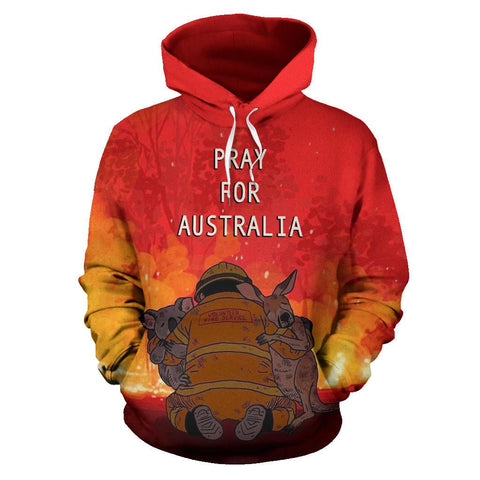 Pray for Australia Hoodie Koala Kangaroo Volunteer Fire front | 1sttheworld.com