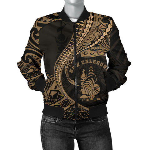 Image of New Caledonia Women's Bomber Jacket Kanaloa Tatau Gen NC (Gold)
