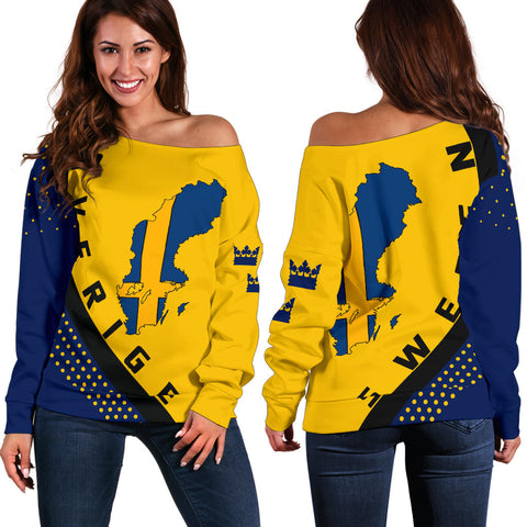 Sweden Map Generation II Off Shoulder Sweater K6