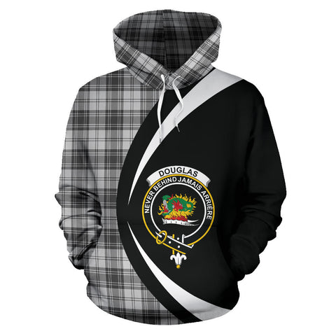 Image of (Custom your text) Douglas Grey Modern Tartan Circle Hoodie