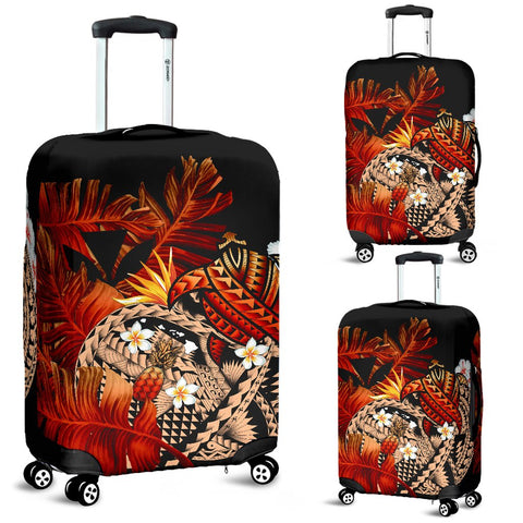 Image of Kanaka Maoli (Hawaiian) Luggage Covers, Polynesian Pineapple Banana Leaves Turtle Tattoo Red
