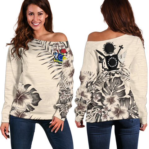 Cook Islands 1 The Beige Hibiscus Off Shoulder Sweater A7
