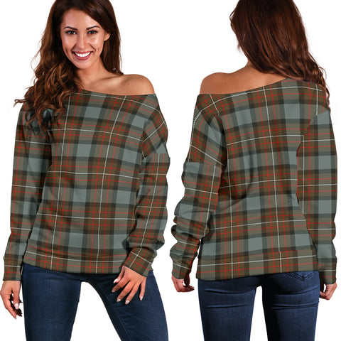 Image of Tartan Womens Off Shoulder Sweater - Fergusson Weathered - Bn | 1sttheworld.com