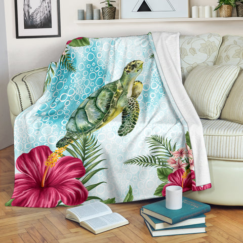 Image of Hawaii Cute Turtle And Hibiscus Premium Blanket |Home Set | 1sttheworld