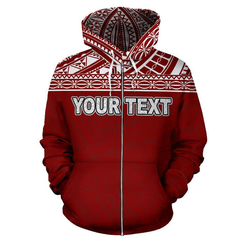 Poly All Over Zip-Up Hoodie - Polynesian Red Custom Version - BN09