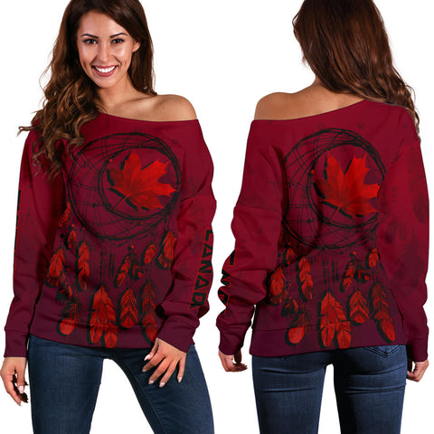 Canada Maple Leaf Dreamcatcher Women's Off Shoulder Sweater | Clothing | Love the World