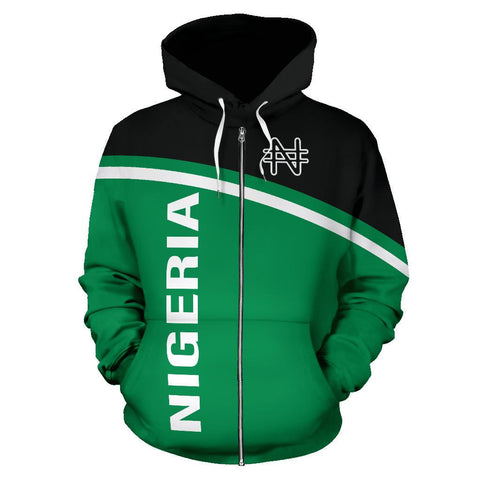 Nigeria All Over Zip-Up Hoodie - Curve Style