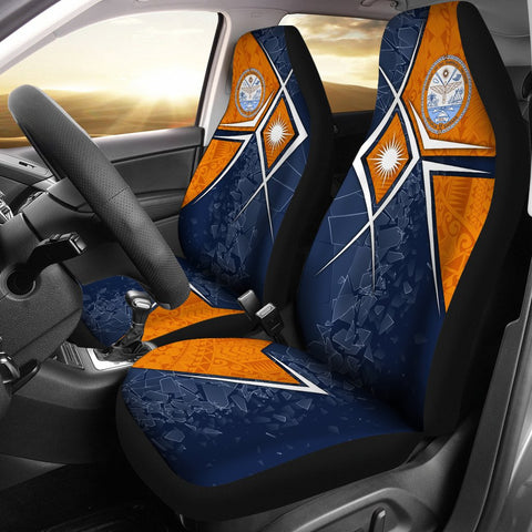 Marshall Islands Car Seat Covers - Marshall Islands Flag with Polynesian Patterns