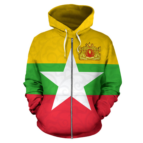 Myanmar Hoodie Myanmar Map (Zip) TH5