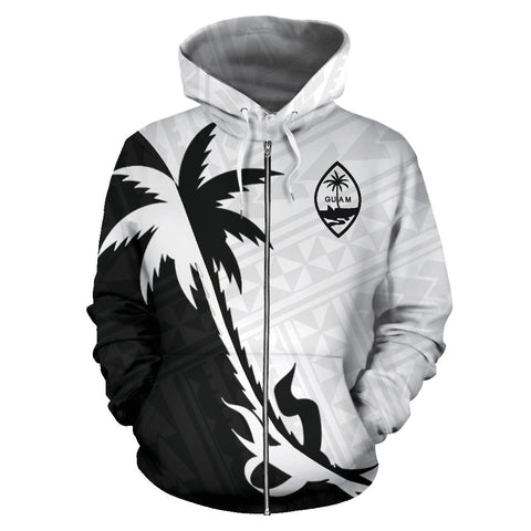 Guam Coconut Tree Zip Up Hoodie Black White