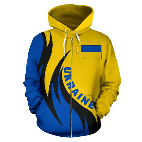 Image of Ukraine Hoodie (Zip) Coat Of Arms Fire Style