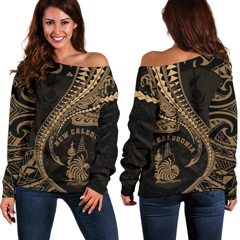Image of New Caledonia Women's Off Shoulder Sweater Kanaloa Tatau Gen NC (Gold)