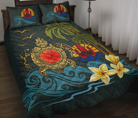 Tahiti Quilt Bed Set - Coat Of Arm Turtle Hibiscus | Love The World