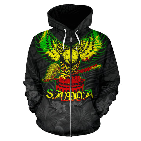 American Samoa Eagle with Seal Zip Hoodie Rasta K4