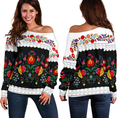 Hungarian Folk Art Off Shoulder Sweater - Front and Back - Women's Clothing