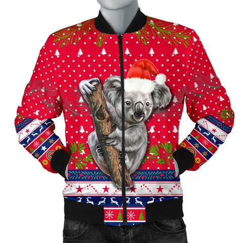 Australia Christmas Aboriginal Men Bomber Jacket Koala Version Front | 1sttheworld