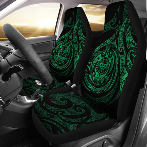 Image of Polynesian Hawaii Car Seat Covers - Green Turtle Tribal