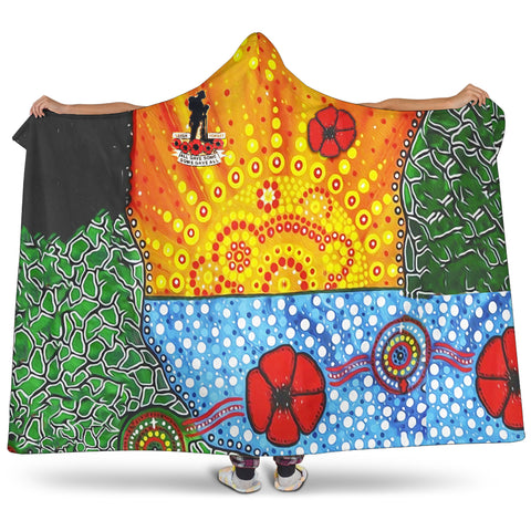 Aboriginal Australian Anzac Day Hooded Blanket - Lest We Forget Poppy