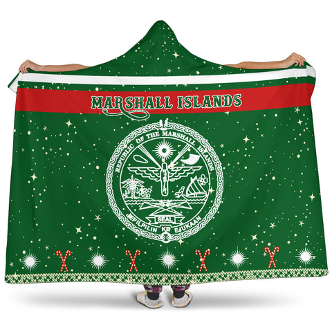 Marshall Islands Coat Of Arms Hooded Blanket - Green - Christmas Style - J092