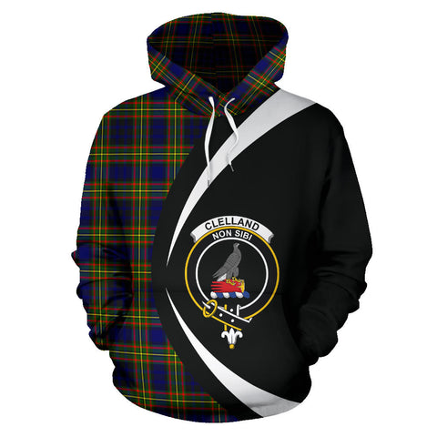 (Custom your text) Clelland Modern Tartan Circle Hoodie